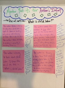 This is an example of four model jots or annotations to show determining an author's intent in action. The teacher not only shows the work in action, but names the strategies she used to produce the jots or annotations.